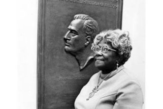 Selma Burke sculpted image of President Franklin Delano Roosevelt minted on the U.S. dime